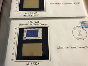 GOLD BRIEFMARKEN FLAGGEN DER USA 50 BRIEFE MIT GOLDMARKE POSTFRISCHER MARKE TOP