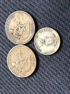 PHILLIPINES ONE 10 CENTAVOS SILVER COIN AND 2  FIVE CENTAVOS COPPER COINS