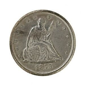 RAW 1875 CC TWENTY CENT 20C UNCERTIFIED UNGRADED CARSON CITY SILVER 20 CENT