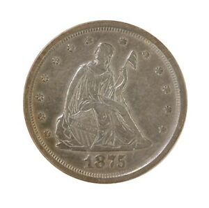 RAW 1875 S TWENTY CENT 20C SAN FRANCISCO MINT SILVER 20 CENT COIN