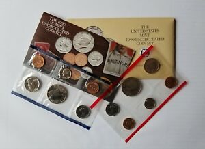 1990 US MINT SET PHILADELPHIA & DENVER MINT SET UNC COINS ORIGINAL PACK W/ COA