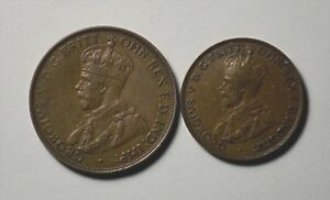 AUSTRALIAN ONE PENNY  XF   AND HALF PENNY 1935 AND 1933