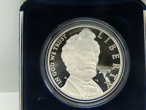 2009 P PROOF ABRAHAM LINCOLN COMMEMORATIVE SILVER DOLLAR WITH BOX
