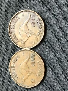 TWO LARGE AUSTRALIAN PENNYS 1943 AND 1955
