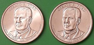 2016 US GERALD FORD PRESIDENTIAL DOLLAR SET ONE P&ONE D FROM ORIGINAL ROLLS