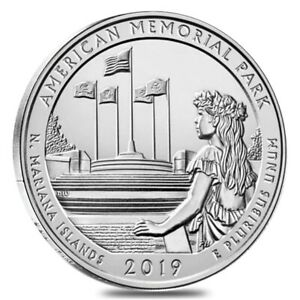 2019 5 OZ SILVER AMERICA THE BEAUTIFUL ATB AMERICAN MEMORIAL PARK COIN