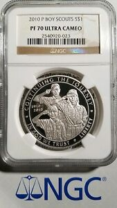 2010 P PROOF $1 SILVER BOY SCOUTS COMMEMORATIVE NGC PF 70 ULTRA CAMEO