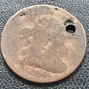 1804 DRAPED BUST HALF CENT 1/2 CENT CIRCULATED HOLED 17597
