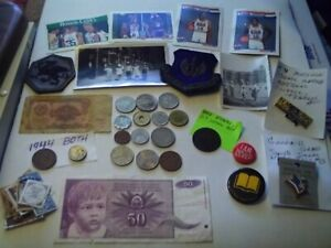 COINS 40 PIECE LOT 16 FOREIGN COINS 2 FOREIGN PAPER MONEY 2 PATCHES