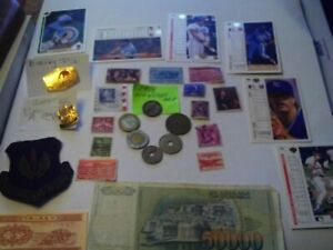 COINS 29 PIECE LOT 6 FOREIGN COINS 2 FOREIGN PAPER MONEY