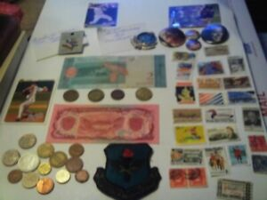 COINS 53 PIECE LOT 14 FOREIGN COINS 4 TOKENS 2 FOREIGN PAPER MONEY