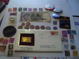 COINS 42 PIECE LOT NINE FOREIGN COINS ONE FOREIGN PAPER MONEY ETC.