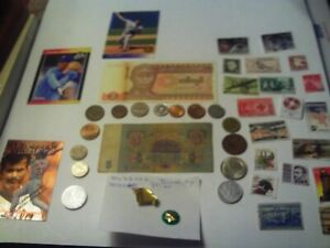 COINS 41 PIECE LOT 15 FOREIGN COINS 2 FOREIGN PAPER MONEY