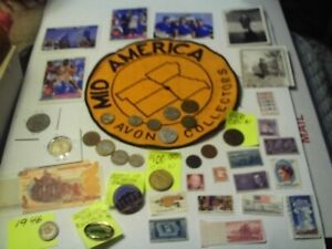 COINS 42 PIECE LOT 18 FOREIGN COINS 1 FOREIGN PAPER MONEY 14 STAMPS