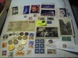 COINS 49 PIECE LOT 15 FOREIGN COINS 1 FOREIGN PAPER MONEY 23 STAMPS