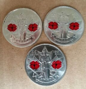 LOT OF 3 2010 CANADA COLORED POPPY 25 CENT QUARTER COINS   EXACT PICTURE SHOWN