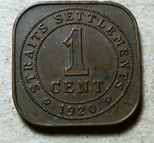 STRAIT SETTLEMENTS 1 CENT 1920 SQUARE COIN