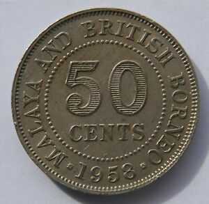 MALAYA AND BRITISH BORNEO 50 CENTS 1958 H