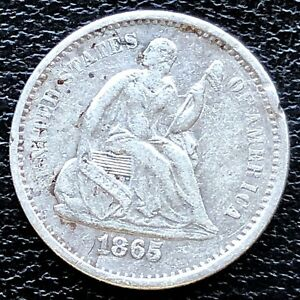 1865 S SEATED LIBERTY HALF DIME 5C HIGH GRADE XF DET.  18705