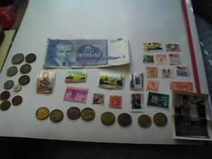 COINS 39 PIECE LOT 10 FOREIGN COINS 8 TOKENS ONE FOREIGN PAPER MONEY