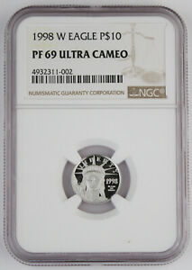 1998 W $10 1/10 OZ PLATINUM AMERICAN EAGLE PROOF COIN NGC PF69 ULTRA CAMEO