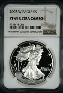 5 2002 W AMERICAN SILVER EAGLE PROOF   NGC PF69 UCAM   UNCIRCULATED