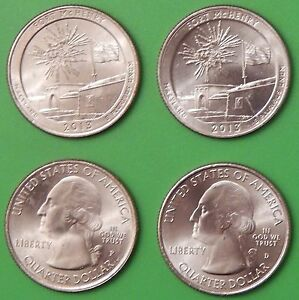 2013 US FORT MCHENRY MONUMENT QUARTER SET ONE P&ONE D FROM MINT ROLLS
