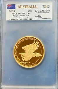 Click now to see the BUY IT NOW Price! 2015 P AUSTRALIAN WEDGE TAILED EAGLE 5 OZ GOLD PROOF COIN PCGS PR70 DCAM.