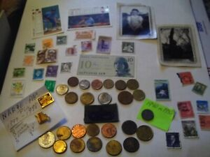 COINS 56 PIECE LOT 12 FOREIGN COINS 12 TOKENS 1 FOREIGN PAPER MONEY