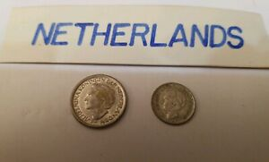 VINTAGE 2  COIN LOT NETHERLANDS FOUND  IN A OLD  SCARP BOOK SINCE 50 S EARLY