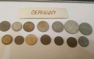 VINTAGE 14 COIN LOT GERMANY IN SCARP BOOK SINCE 50 S
