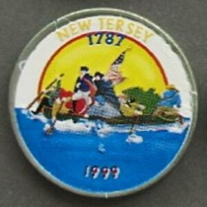 NEW JERSEY STATE QUARTER COLORIZED   CROSSROADS OF THE REVOLUTION 1999  1454