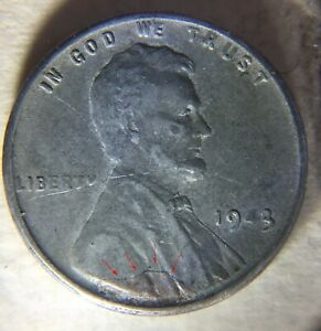 1943 S 1C STEEL LINCOLN WHEAT CENT MISSING