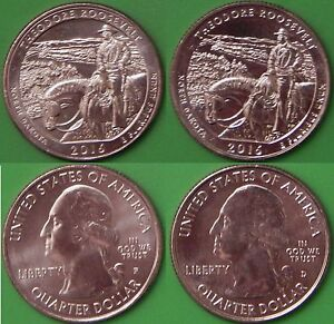 2016 US THEODORE ROOSEVELT QUARTER SET ONE P&ONE D FROM ORIGINAL ROLLS
