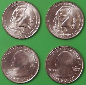 2013 US MOUNT RUSHMORE MEMORIAL QUARTER SET ONE P&ONE D FROM MINT ROLLS