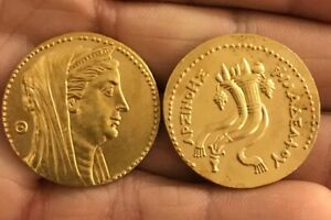 RESTRIKE GREEK OKTODRACHME  AGYPTEN PTOLEMAIOS II 283 246 GOLD PLATED ANCIENT