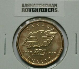 1910 2010 CANADA SASKATCHEWAN ROUGHRIDERS CFL FOOTBALL COIN   DOLLAR   UNC