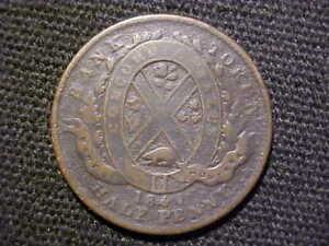 1844 HALF PENNY BANK OF MONTREAL PROVINCE OF CANADA TOKEN