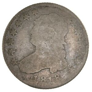 RAW 1818 CAPPED BUST 25C UNCERTIFIED UNGRADED CIRCULATED EARLY US SILVER QUARTER
