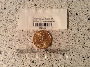 2007 P THOMAS JEFFERSON $ 1 PRESIDENTIAL DOLLAR COIN UNCIRCULATED 60