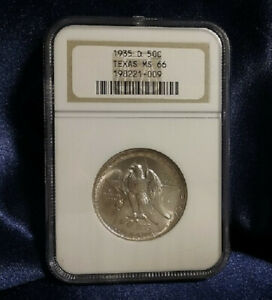 1935 D TEXAS SILVER 50 CENTS COMMEMORATIVE NGC MS 66