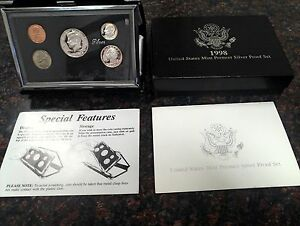Click now to see the BUY IT NOW Price! 1998   UNITED STATES MINT PREMIER SILVER PROOF SET.     INCLUDES COA.