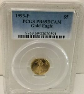 1993 P  $5 PROOF 1/10 OZ GOLD AMERICAN EAGLE  PERFECT