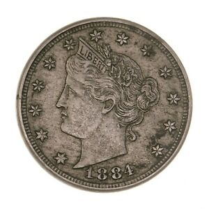 RAW 1884 LIBERTY 5C UNCERTIFIED UNGRADED CIRCULATED US MINT NICKEL COIN