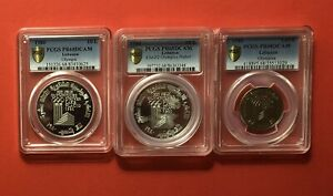 Click now to see the BUY IT NOW Price! 1980 LEBANON 3 SILVER PROOF COINS  1L. 10L.&10L.  PIEFORT  PCGS GRADED PF68.