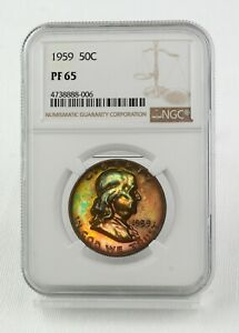 1961 PROOF FRANKLIN HALF DOLLAR NGC PR65 PINK GOLD GREEN BLUE  WOW COIN