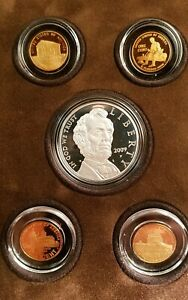 2009 $1 ABRAHAM LINCOLN SILVER COIN & CHRONICLES PROOF SET OF 5 BOX   COA