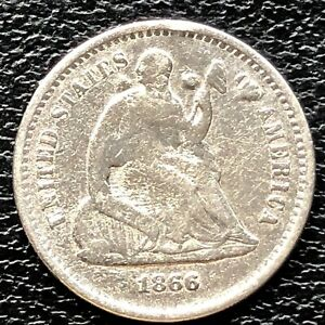 1866 S SEATED LIBERTY HALF DIME 5C BETTER GRADE  20370