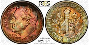 Click now to see the BUY IT NOW Price! 1948 D ROOSEVELT DIME TONED PCGS MS67FB W/TRUEVIEW