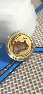 AUSTRALIAN LUNAR YEAR OF THE MOUSE 2008 GOLD 5$ 1/20 OZ 9999 GOLD